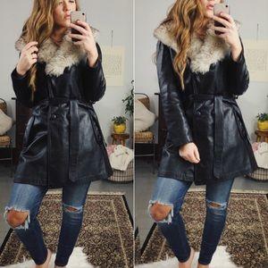 Vintage Leather Faux Fur Trench Coat